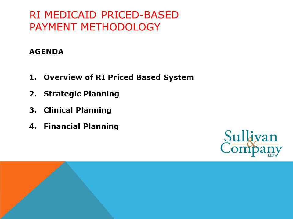 RI MEDICAID PRICED-BASED PAYMENT METHODOLOGY AGENDA 1.Overview of RI Priced Based System 2.Strategic Planning 3.Clinical Planning 4.Financial Planning