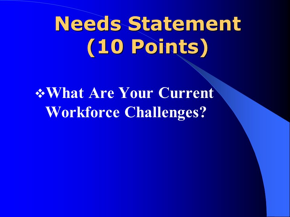 Needs Statement (10 Points) What Are Your Current Workforce Challenges?