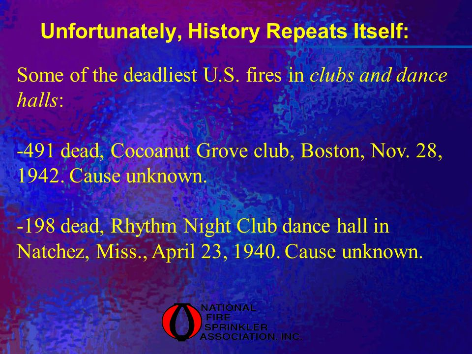 Unfortunately, History Repeats Itself: Some of the deadliest U.S. fires in clubs and dance halls: -491 dead, Cocoanut Grove club, Boston, Nov. 28, 194