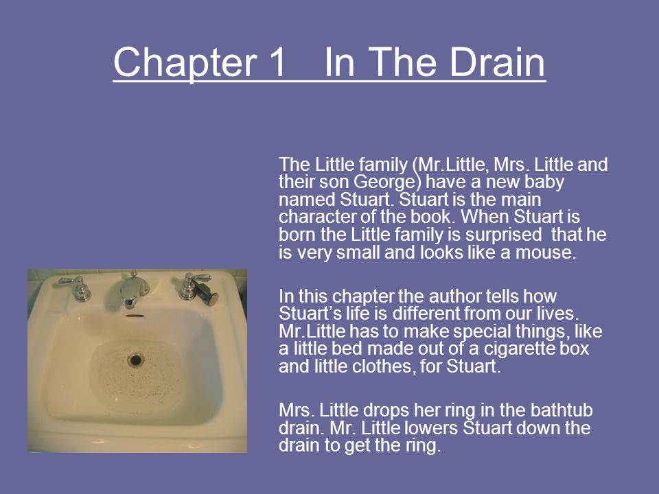 Chapter 1 In The Drain The Little family (Mr.Little, Mrs. Little and their son George) have a new baby named Stuart. Stuart is the main character of t