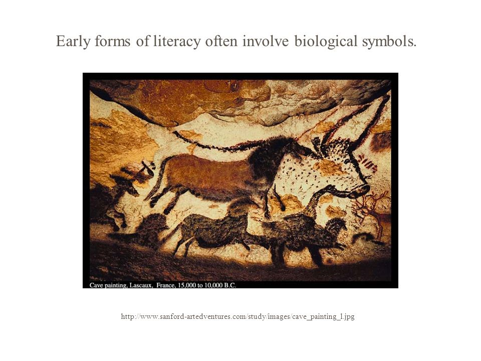 http://www.sanford-artedventures.com/study/images/cave_painting_l.jpg Early forms of literacy often involve biological symbols.