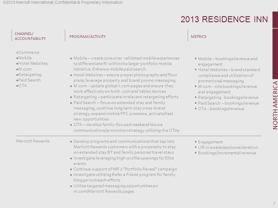 2013 Marriott International Confidential & Proprietary Information 7 CHANNEL/ ACCOUNTABILITY PROGRAM/ACTIVITYMETRICS NORTH AMERICA eCommerce Mobile Ho