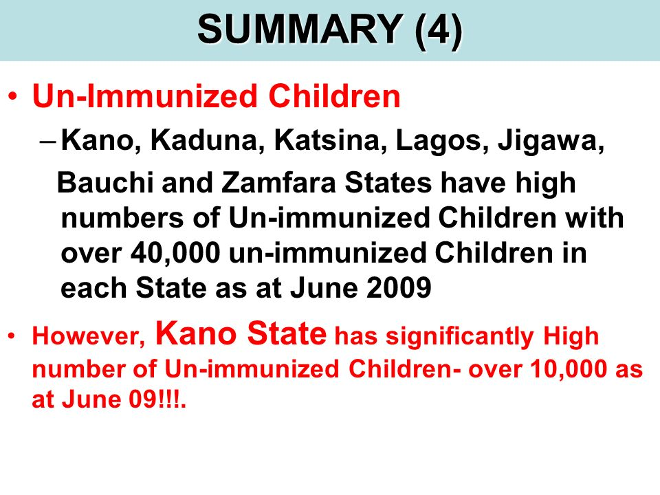 Un-Immunized Children –Kano, Kaduna, Katsina, Lagos, Jigawa, Bauchi and Zamfara States have high numbers of Un-immunized Children with over 40,000 un-
