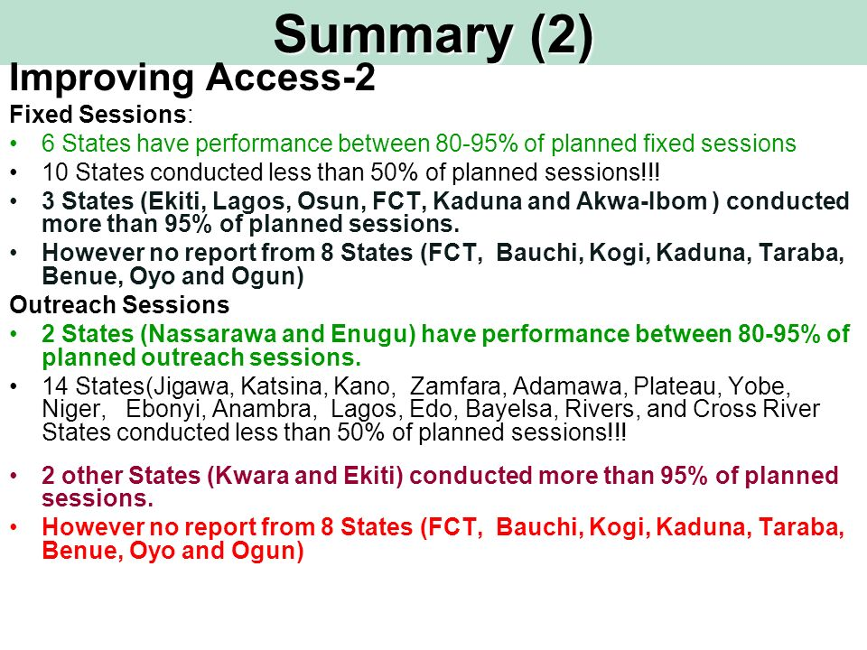 Summary (2) Improving Access-2 Fixed Sessions: 6 States have performance between 80-95% of planned fixed sessions 10 States conducted less than 50% of