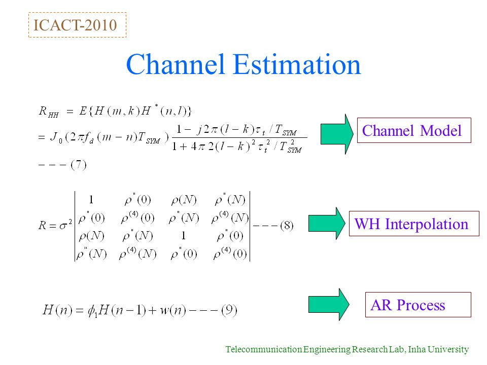 Telecommunication Engineering Research Lab, Inha University Channel Estimation Channel Model WH Interpolation AR Process ICACT-2010