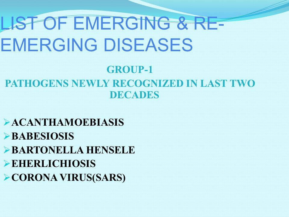 Emerging Infections: Intent to Harm Bioterrorism: Anthrax in US 2001 Bio-Crimes: Salmonella, Shigella Potential agents: Smallpox, Botulism toxin, Plag