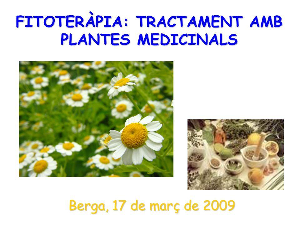 FITOTERÀPIA: TRACTAMENT AMB PLANTES MEDICINALS Berga, 17 de març de 2009