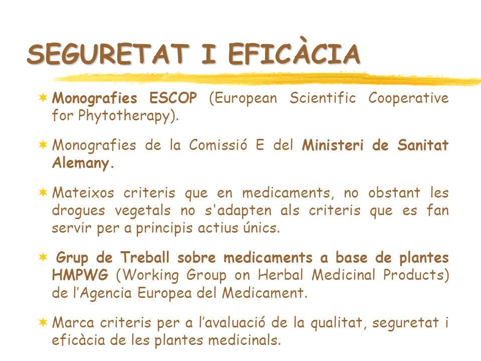 SEGURETAT I EFICÀCIA Monografies ESCOP (European Scientific Cooperative for Phytotherapy). Monografies de la Comissió E del Ministeri de Sanitat Alema