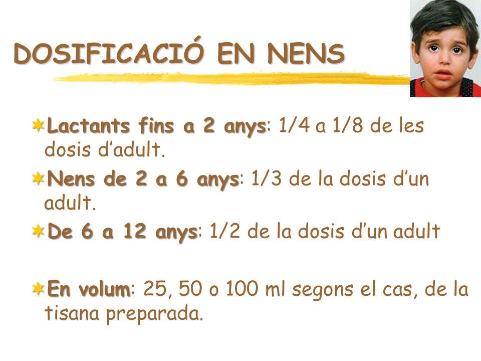 DOSIFICACIÓ EN NENS Lactants fins a 2 anys Lactants fins a 2 anys: 1/4 a 1/8 de les dosis dadult. Nens de 2 a 6 anys Nens de 2 a 6 anys: 1/3 de la dos