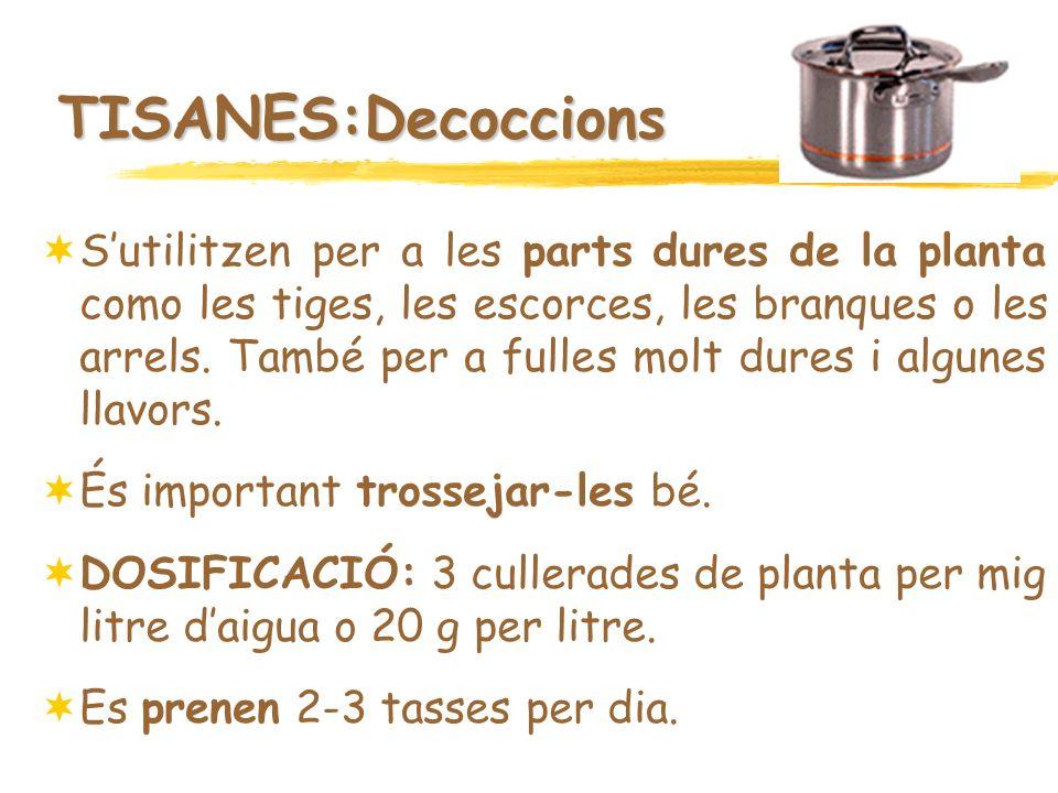 TISANES:Decoccions Sutilitzen per a les parts dures de la planta como les tiges, les escorces, les branques o les arrels. També per a fulles molt dure