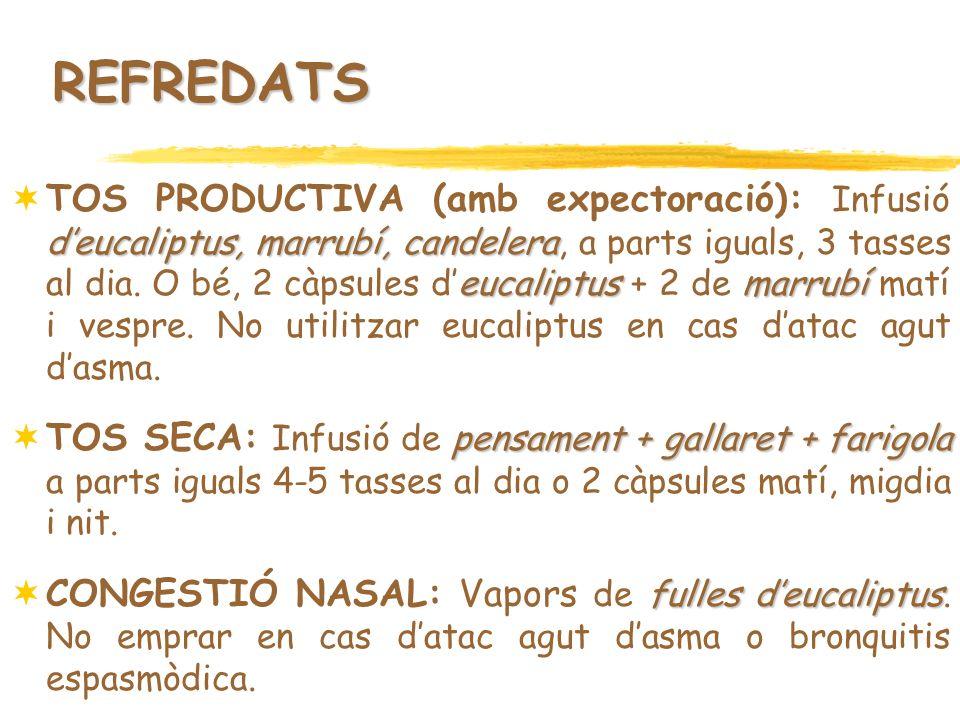 REFREDATS deucaliptus, marrubí, candelera eucaliptusmarrubí TOS PRODUCTIVA (amb expectoració): Infusió deucaliptus, marrubí, candelera, a parts iguals