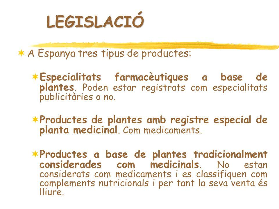 LEGISLACIÓ A Espanya tres tipus de productes: Especialitats farmacèutiques a base de plantes. Poden estar registrats com especialitats publicitàries o