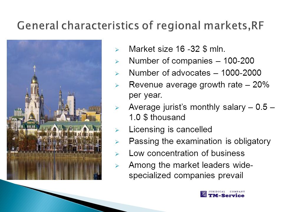Market size 16 -32 $ mln. Number of companies – 100-200 Number of advocates – 1000-2000 Revenue average growth rate – 20% per year. Average jurists mo