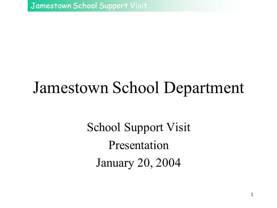 Jamestown School Support Visit 1 Jamestown School Department School Support Visit Presentation January 20, 2004