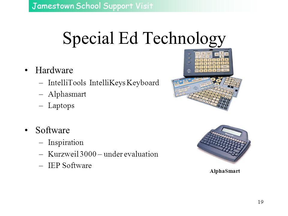 Jamestown School Support Visit 19 Special Ed Technology Hardware –IntelliTools IntelliKeys Keyboard –Alphasmart –Laptops Software –Inspiration –Kurzwe