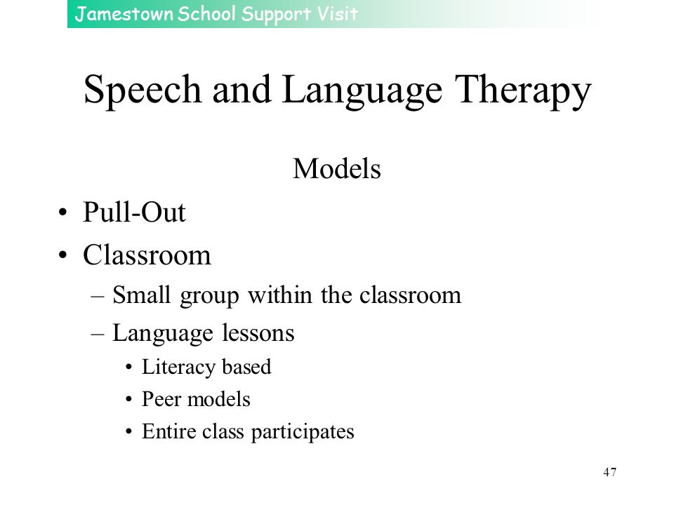 Jamestown School Support Visit 47 Speech and Language Therapy Models Pull-Out Classroom –Small group within the classroom –Language lessons Literacy b