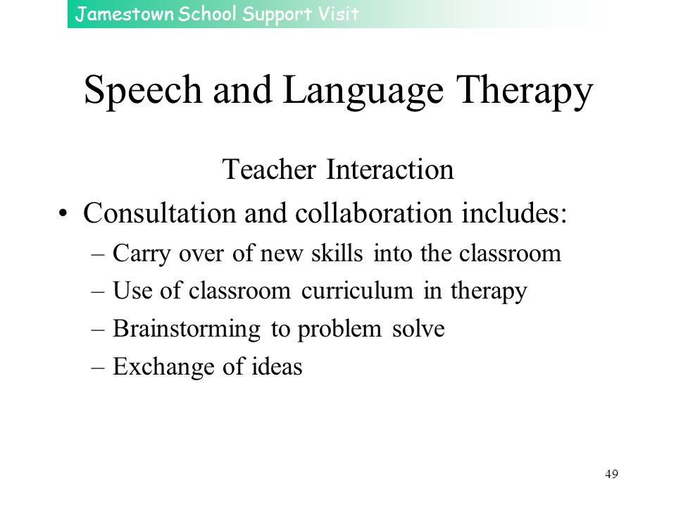 Jamestown School Support Visit 49 Speech and Language Therapy Teacher Interaction Consultation and collaboration includes: –Carry over of new skills i
