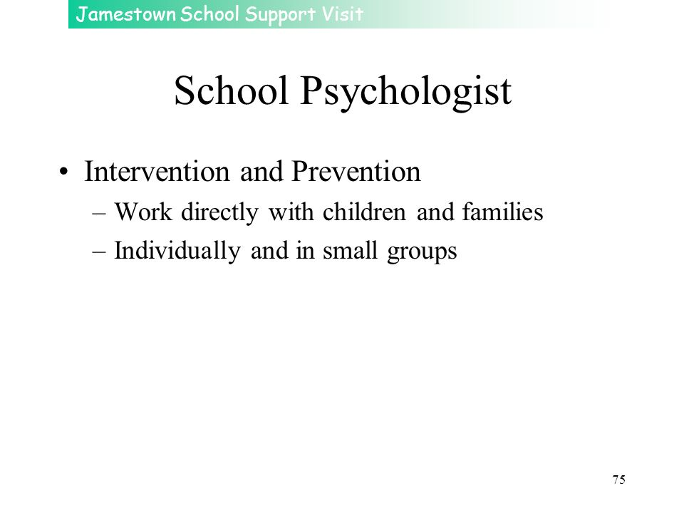 Jamestown School Support Visit 75 School Psychologist Intervention and Prevention –Work directly with children and families –Individually and in small