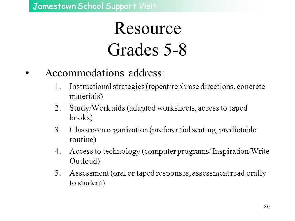 Jamestown School Support Visit 80 Resource Grades 5-8 Accommodations address: 1.Instructional strategies (repeat/rephrase directions, concrete materia