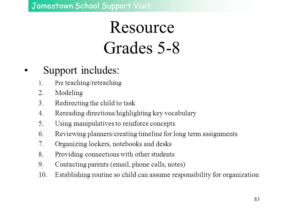 Jamestown School Support Visit 83 Resource Grades 5-8 Support includes: 1.Pre teaching/reteaching 2.Modeling 3.Redirecting the child to task 4.Rereadi