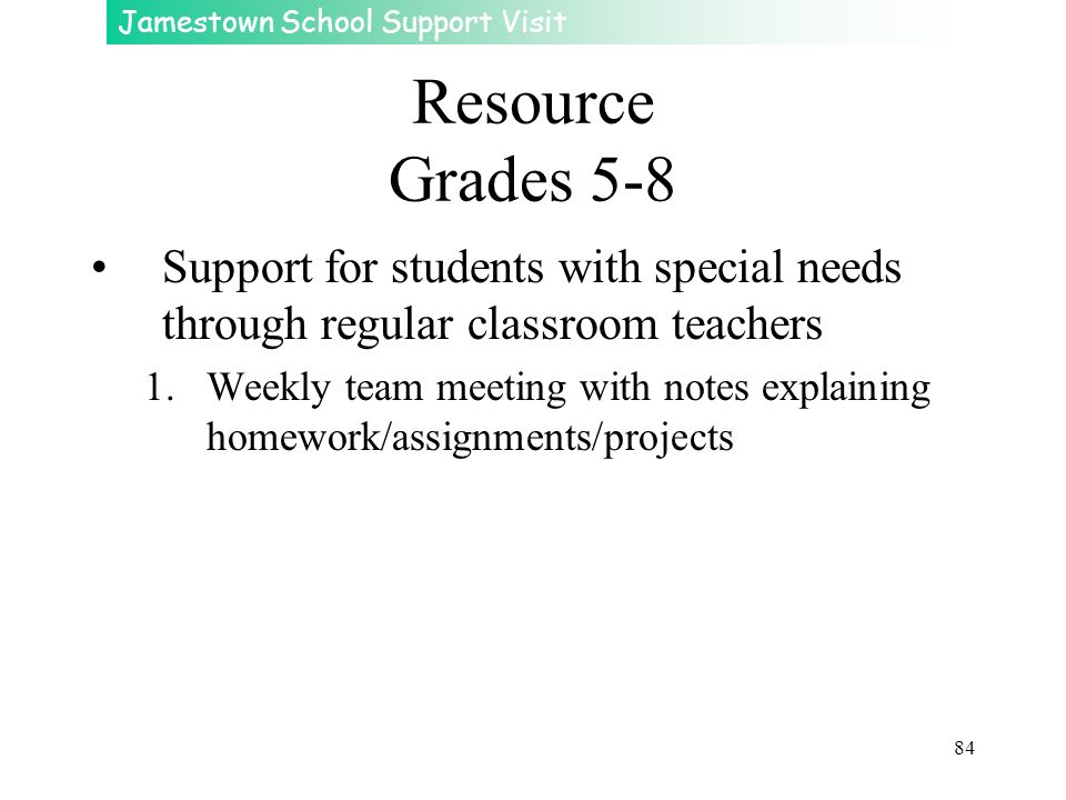 Jamestown School Support Visit 84 Resource Grades 5-8 Support for students with special needs through regular classroom teachers 1.Weekly team meeting