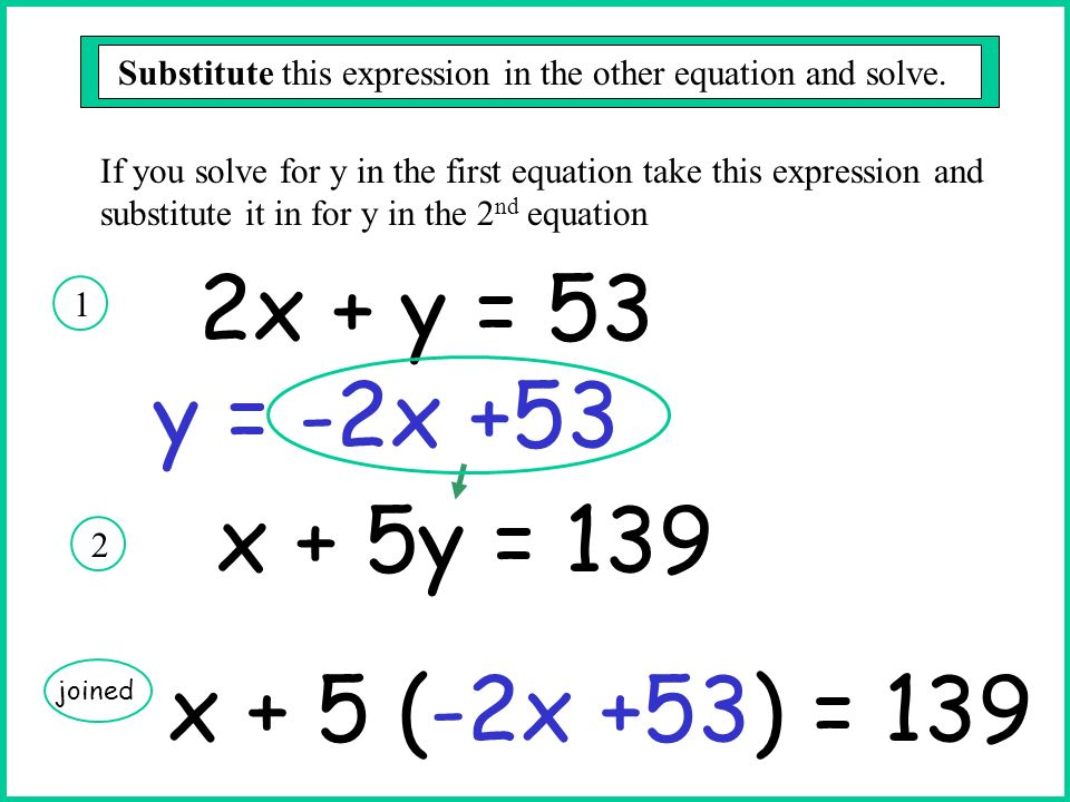 2x + y = 53 1 x + 5y = 139 2 y = -2x +53 If you solve for y in the first equation take this expression and substitute it in for y in the 2 nd equation