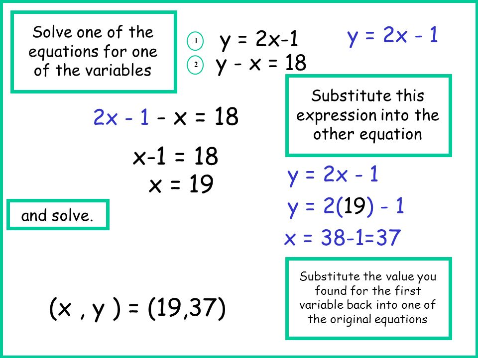 y = 2x-1 1 y - x = 18 y = 2x - 1 2x - 1 - x = 18 2 Substitute the value you found for the first variable back into one of the original equations y = 2