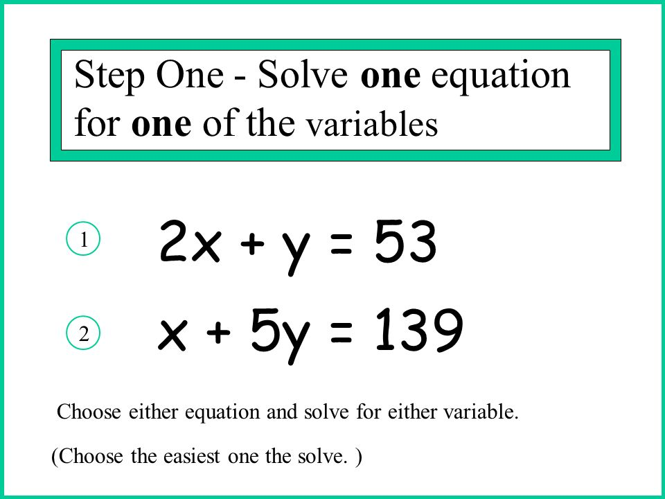 Step One - Solve one equation for one of the variables In this problem you could have solved equation #1 for y or solved equation # 2 for x.