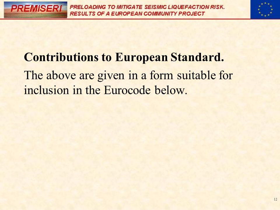 12 Contributions to European Standard.