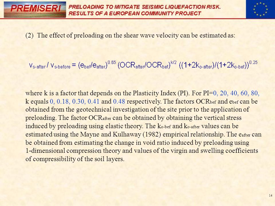 14 (2) The effect of preloading on the shear wave velocity can be estimated as: where k is a factor that depends on the Plasticity Index (PI). For PI=