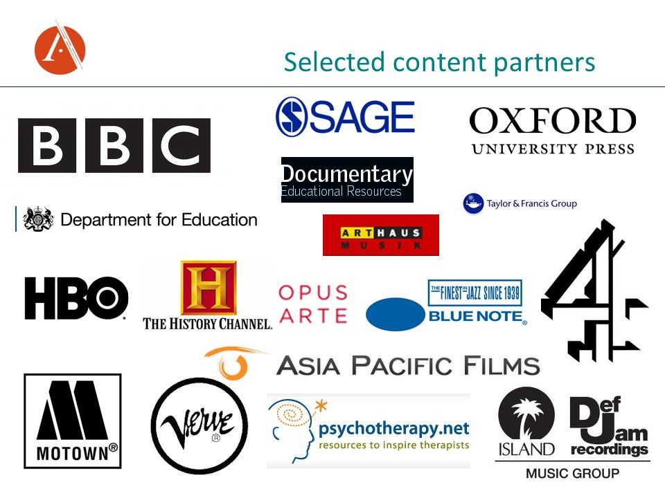 Selected content partners