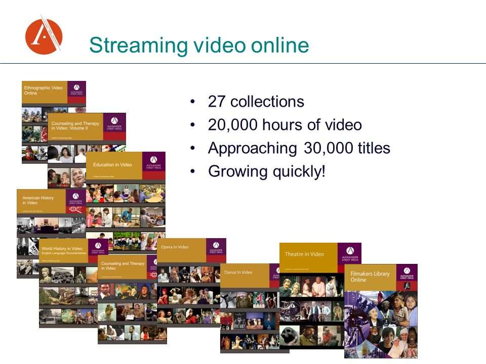 Streaming video online 27 collections 20,000 hours of video Approaching 30,000 titles Growing quickly!