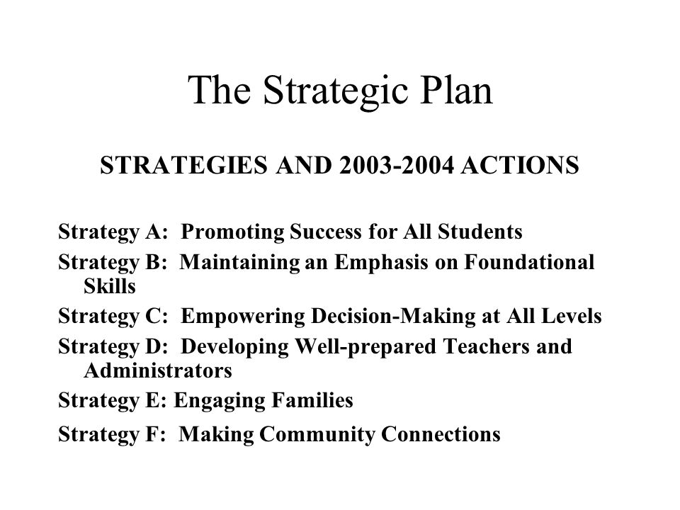 The Strategic Plan STRATEGIES AND 2003-2004 ACTIONS Strategy A: Promoting Success for All Students Strategy B: Maintaining an Emphasis on Foundational Skills Strategy C: Empowering Decision-Making at All Levels Strategy D: Developing Well-prepared Teachers and Administrators Strategy E: Engaging Families Strategy F: Making Community Connections