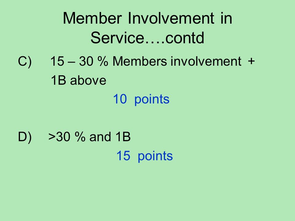 Member Involvement in Service….contd C) 15 – 30 % Members involvement + 1B above 10 points D) >30 % and 1B 15 points