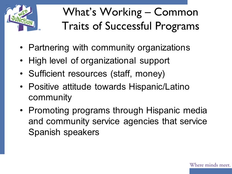 Whats Working – Common Traits of Successful Programs Partnering with community organizations High level of organizational support Sufficient resources (staff, money) Positive attitude towards Hispanic/Latino community Promoting programs through Hispanic media and community service agencies that service Spanish speakers