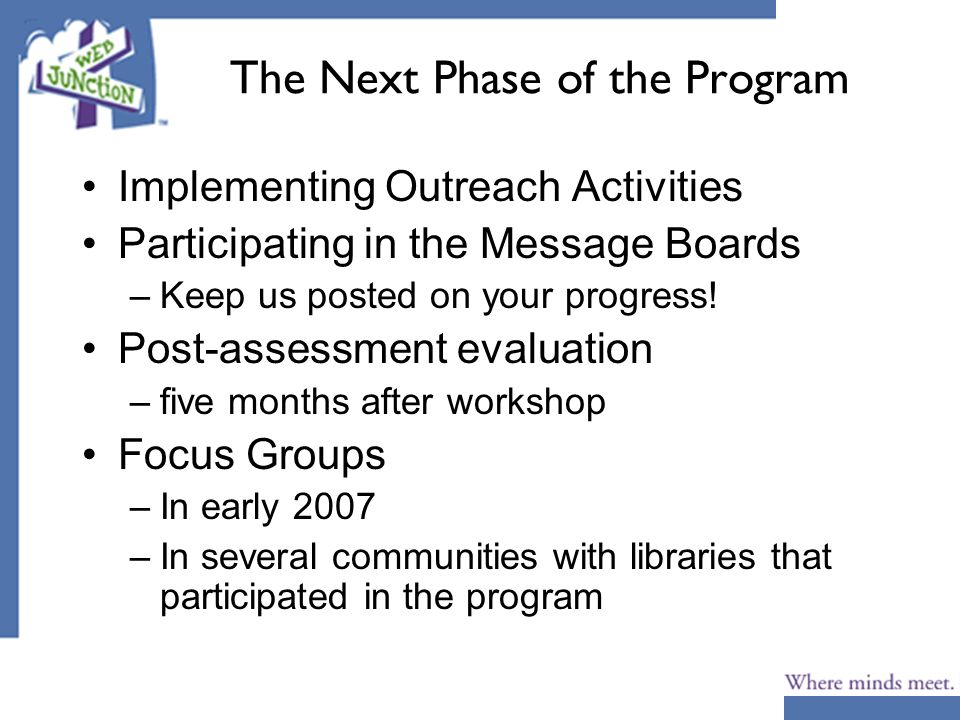 The Next Phase of the Program Implementing Outreach Activities Participating in the Message Boards –Keep us posted on your progress! Post-assessment e