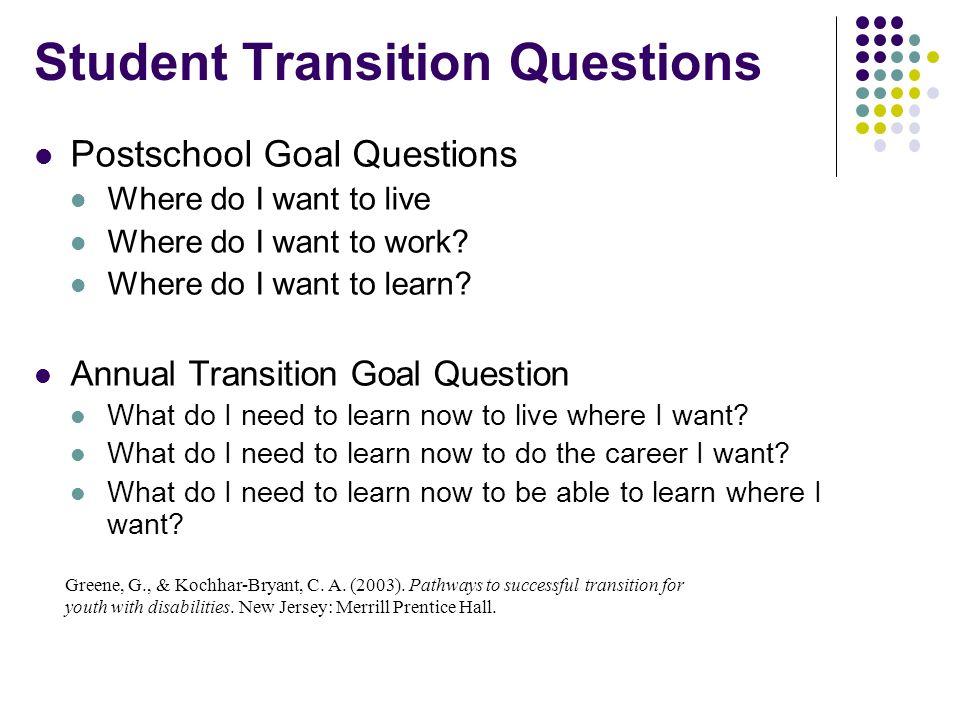 Student Transition Questions Postschool Goal Questions Where do I want to live Where do I want to work? Where do I want to learn? Annual Transition Go