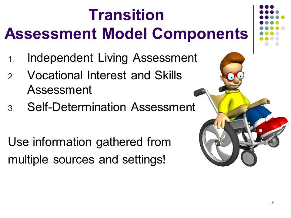 28 Transition Assessment Model Components 1. Independent Living Assessment 2. Vocational Interest and Skills Assessment 3. Self-Determination Assessme