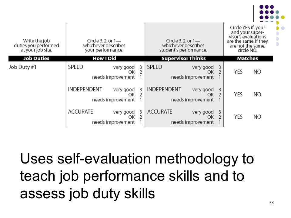 68 Uses self-evaluation methodology to teach job performance skills and to assess job duty skills