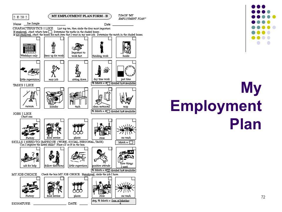 72 My Employment Plan