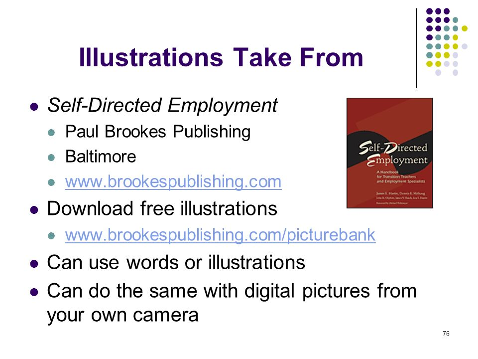 76 Illustrations Take From Self-Directed Employment Paul Brookes Publishing Baltimore www.brookespublishing.com Download free illustrations www.brooke
