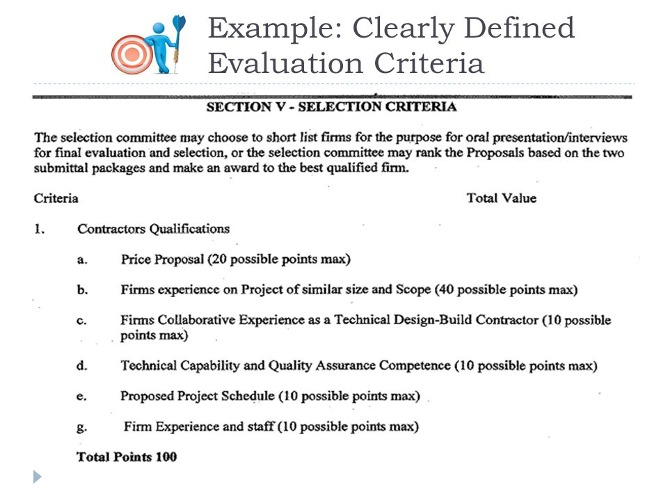 Example: Clearly Defined Evaluation Criteria