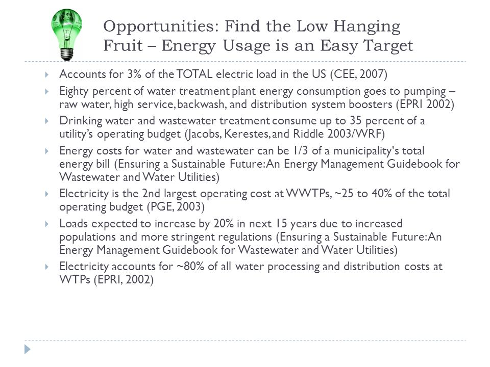 Opportunities: Find the Low Hanging Fruit – Energy Usage is an Easy Target Accounts for 3% of the TOTAL electric load in the US (CEE, 2007) Eighty per