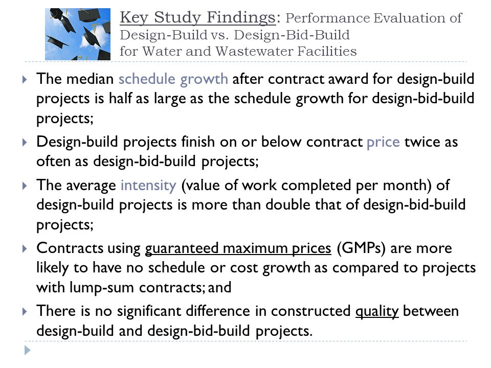 RFP Format: Specification - Prescriptive A Specification-based RFP has a prescriptive style Gives Design-Build team limited flexibility and owner greatest control Owner limits cost and time saving opportunities Owner retains maximum control Design creativity is limited as a result of specified equipment and finishes May expose owner to liability for performance and delivery issues