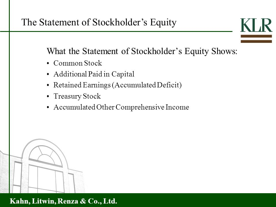Kahn, Litwin, Renza & Co., Ltd. What the Statement of Stockholders Equity Shows: Common Stock Additional Paid in Capital Retained Earnings (Accumulate