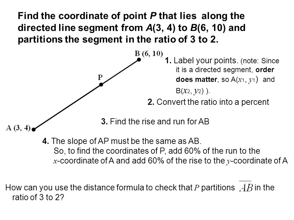 Find the coordinate of point P that lies along the directed line segment from A(3, 4) to B(6, 10) and partitions the segment in the ratio of 3 to 2. 2
