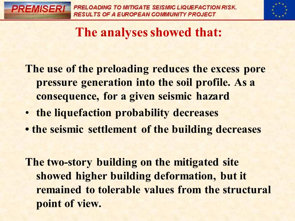 The analyses showed that: The use of the preloading reduces the excess pore pressure generation into the soil profile. As a consequence, for a given s