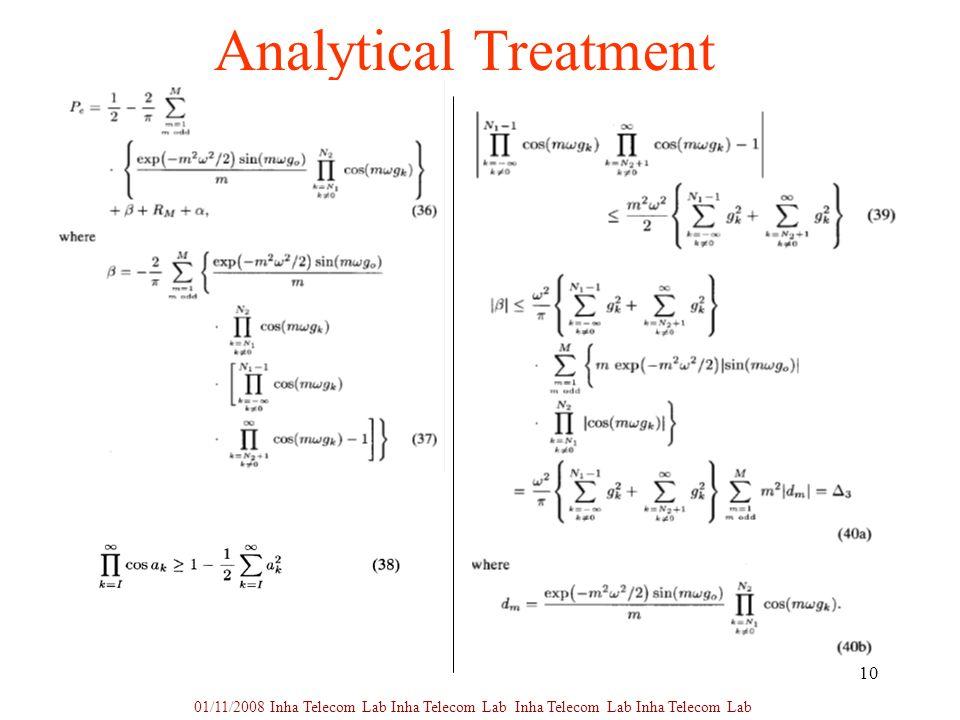 10 Analytical Treatment 01/11/2008 Inha Telecom Lab Inha Telecom Lab Inha Telecom Lab Inha Telecom Lab