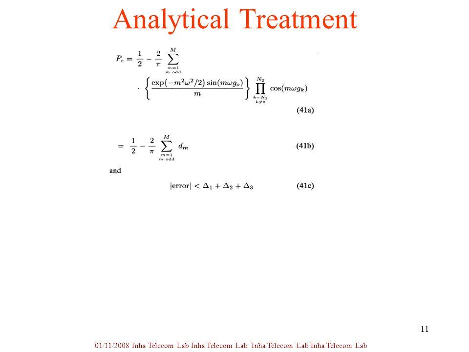 11 Analytical Treatment 01/11/2008 Inha Telecom Lab Inha Telecom Lab Inha Telecom Lab Inha Telecom Lab