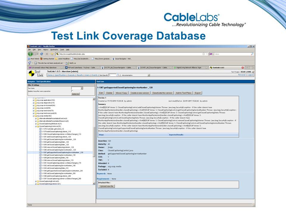 Test Link Coverage Database